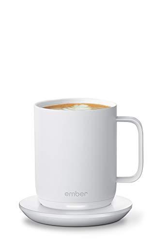 NEUES Smarter Ember Becher 2 mit Temperaturregelung, 295 ml, Weiß, 1,5 Stunden Akkulaufzeit – per App gesteuerter, beheizter Kaffeebecher – verbessertes Design