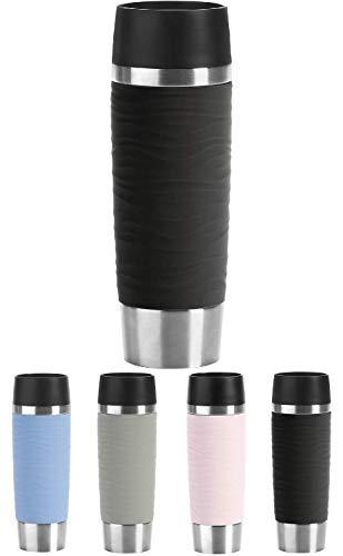 Emsa N2011900 Travel Mug Wave-Design Thermobecher/Isolierbecher (500 ml, hält 6h heiß/ 12h kalt, 100% dicht, auslaufsicher, Easy Quick-Press-Verschluss, 360°-Trinköffnung) schwarz