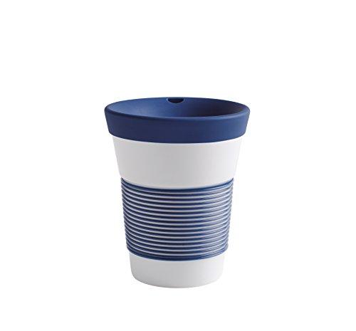 Kahla cupit Becher 0,35 l mit Trinkdeckel in deep sea Blue, Coffee to Go Mug aus Porzellan mit innovativer Magic Grip Beschichtung, Pro Öko, 10 x 6 x 13.2 cm