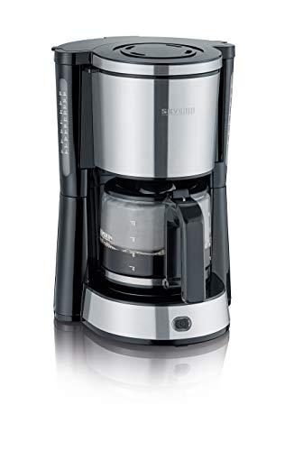 SEVERIN Kaffeemaschine, aromatischer Kaffee mit dem Kaffeebereiter für bis zu 10 Tassen, Filterkaffeemaschine mit Schwenkfilter, Edelstahl/schwarz, KA 4822