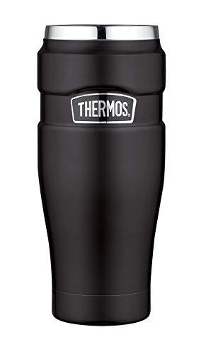 THERMOS 4002.232.047 Coffee-to-Go Thermobecher Stainless King, Edelstahl Mat Black 0,47 l, 7 Stunden heiß, 18 Stunden kalt, BPA-Free