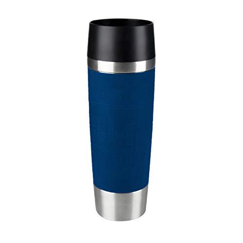 Emsa 515618 Travel Mug Standard-Design Grande, Thermobecher/Isolierbecher, 500ml, hält 6h heiß/ 12h kalt, 100% dicht, auslaufsicher, Easy Quick-Press-Verschluss, 360°-Trinköffnung, Farbe blau