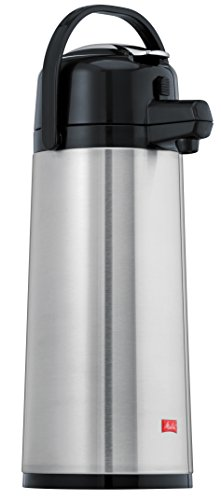 Melitta Pump-Isolierkanne, 2,2 l, ca. 18 Tassen, Edelstahlkolben, Edelstahl, Silber/Schwarz