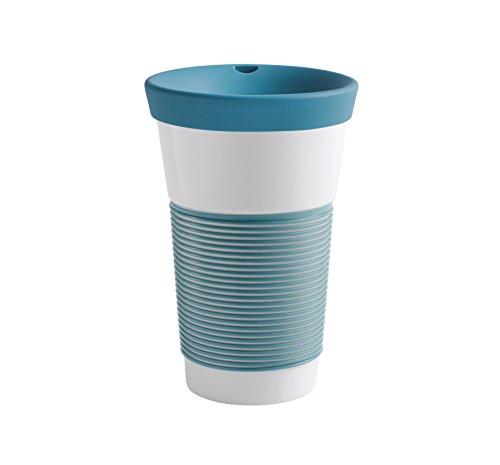 Kahla cupit Becher 0,47 l mit Trinkdeckel in Green Lagoon, Coffee to Go Mug aus Porzellan mit innovativer Magic Grip Beschichtung, Pro Öko, 10 x 6 x 16.7 cm