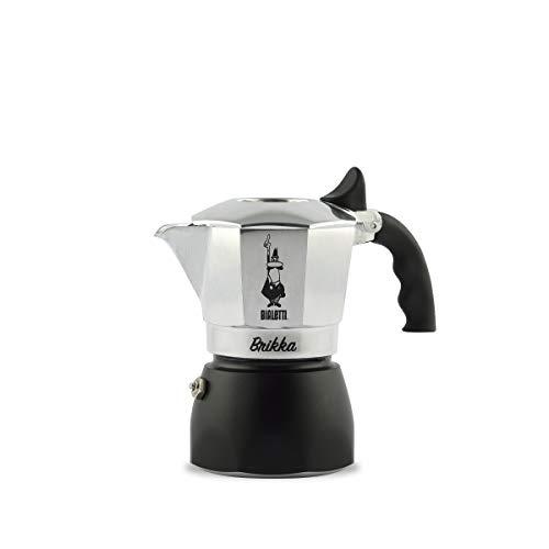 Bialetti New Brikka, Aluminium, Kaffeemaschine für Kaffee mit Doppelrahm, 2 Tassen