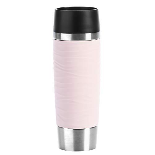 Emsa N2012000 Travel Mug Wave-Design Thermobecher/Isolierbecher (500 ml, hält 6h heiß/ 12h kalt, 100% dicht, auslaufsicher, Easy Quick-Press-Verschluss, 360°-Trinköffnung) puderrosa