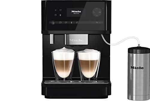 Miele CM 6350 Kaffeevollautomat (OneTouch- und OneTouch for zwei-Zubereitung, vier Genießerprofile, Tassenwärmer, Heißwasserauslauf, Tassenbeleuchtung, automatische Spülprogramme) obsidian-schwarz