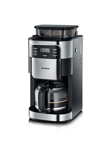 SEVERIN Kaffeeautomat mit Mahlwerk und Glaskanne, Für Kaffeebohnen und Filterkaffee, Timerfunktion, Automatische Abschaltung, bis zu 10 Tassen, KA 4810, Edelstahl/Schwarz