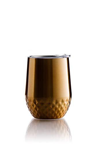 BOHORIA® Premium Quality Edelstahl Isolierbecher | Thermo-Becher | Doppelwandig & Vakuumisoliert – Leicht & Elegant (350ml) | Wein-Glas to go | Reisebecher mit Deckel für Kaffee, Tee (Gold)