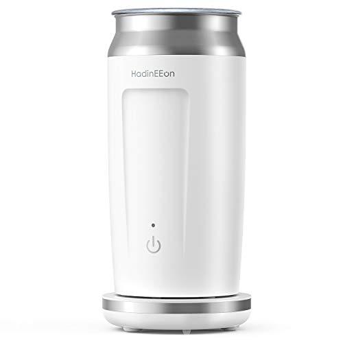 HadinEEon elektrischer Milchaufschäumer 4 in 1 Edelstahl Automatischer Milchschäumer Erhitzen und Aufschäumen für heiße und kalte Milch Bedienung auf Tastendruck ,Antihaftbeschichtung, 240ml