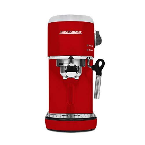 GASTROBACK #42719 Design Espresso Piccolo, Espressomaschine mit Milchaufschäumdüse, 19 bar Pumpendruck, schnelles Aufheizen (40 Sekunden), rot