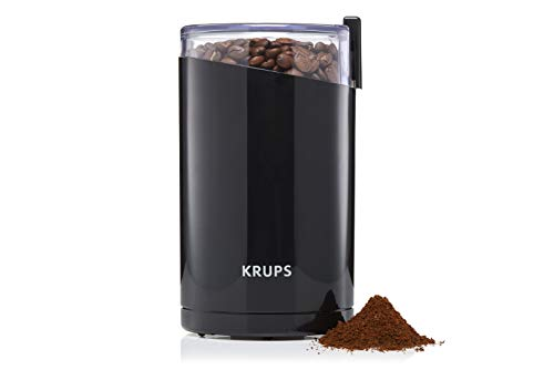 Krups F20342 Kaffeemühle und Gewürzmühle in Einem   Leistungsstarker Motor   Mahlgrad variabel   75g Füllmenge   Schlagmesser aus Edelstahl   Sicherheitsdeckel   Anti-Rutsch-Füße   Schwarz