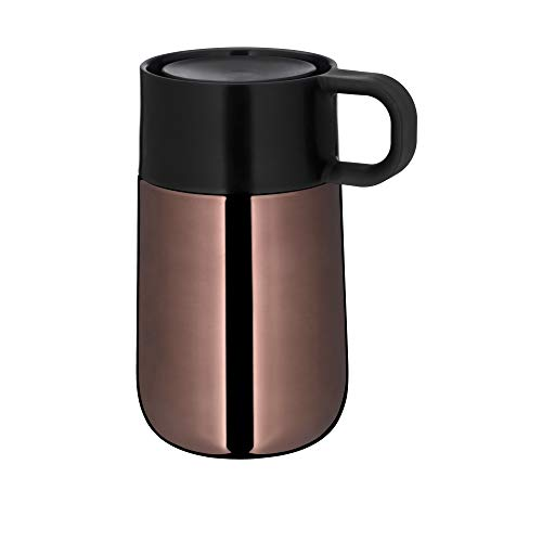 WMF Impulse Travel Mug, Thermobecher 0,3l, Automatikverschluss, 360°-Trinköffnung, hält Getränke 6h warm/ 12h kalt, kupfer
