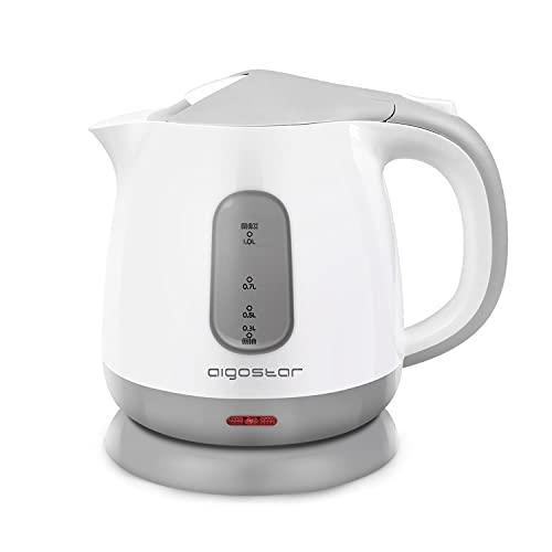 Aigostar Juliet 30HIO-Wasserkocher 1 Liter,Kompakter kleiner Reisewasserkocher 1100W, 0,6g, BPA freier Wasserkocher Klein für die Zubereitung von Babynahrung & Tee mit Trockenschutz,Weiß