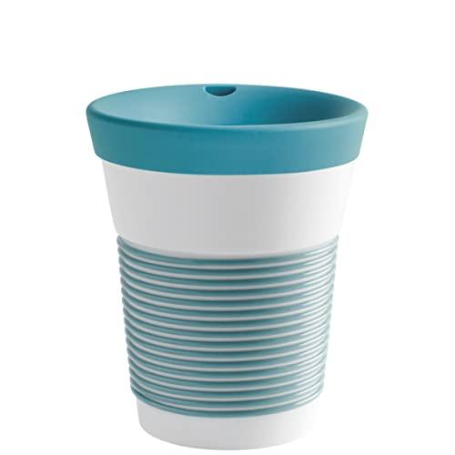 Kahla cupit Becher 0,35 l mit Trinkdeckel in Green Lagoon, Coffee to Go Mug aus Porzellan mit innovativer Magic Grip Beschichtung, Pro Öko, 10 x 6 x 13.2 cm