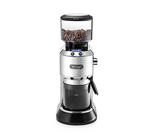 De'Longhi Dedica KG 521.M Elektrische Kaffeemühle, 2,1' LCD Display mit Aroma Funktion, Vollmetallgehäuse, edelstahl Kegelmahlwerk, einstellbare Mahlgradeinstellung, silber