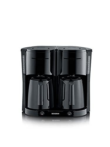 SEVERIN Duo-Filterkaffeemaschine mit Thermokanne, Kaffeemaschine für bis zu 16 Tassen, ansprechende Filtermaschine mit 2 Isolierkannen, schwarz gebürstet, KA 5829