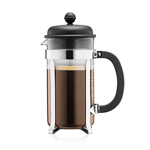 Bodum CAFFETTIERA Kaffeebereiter (French Press System, Permanent Edelstahlfilter, 1,0 liters) schwarz