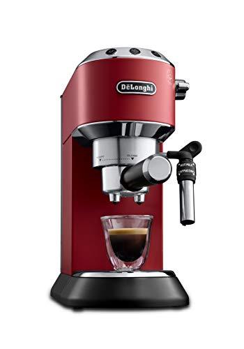 De'Longhi Dedica Style EC 685.R Espresso Siebträgermaschine, Espressomaschine mit Professioneller Milchschaumdüse, nur 15 cm breit, 1 Liter Wassertank, Vollmetallgehäuse, E.S.E Pads geeignet, rot