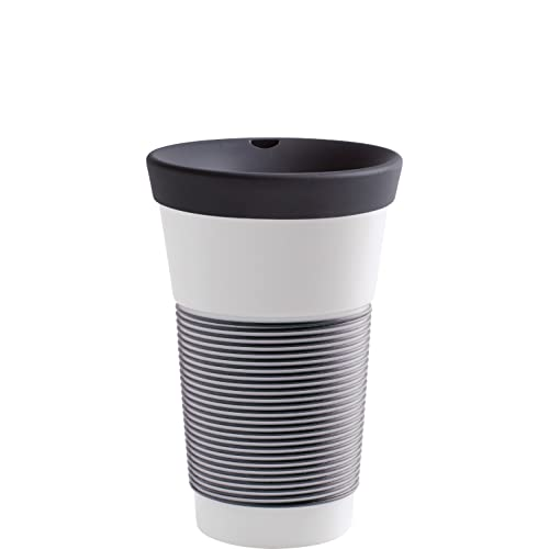 KAHLA cupit Becher 0,47 l mit Trinkdeckel in anthrazit, Coffee to Go Mug aus Porzellan mit innovativer Magic Grip Beschichtung, Pro Öko, 1 Stück (1er Pack)