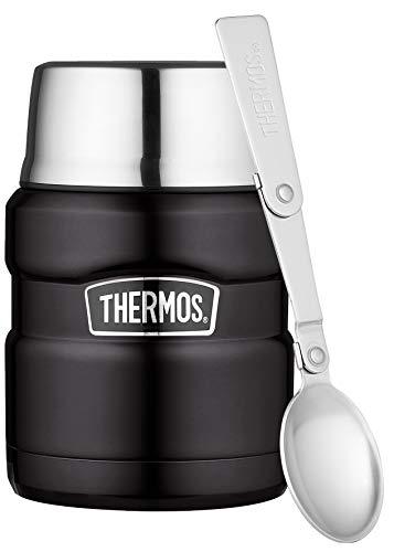 THERMOS Thermobehälter für Essen groß Lunchpot Stainless King, Edelstahl schwarz 470ml, Speisegefäß für Essen, Suppen, Müsli, 4001.232.047, dicht, inkl. Löffel, 9 Stunden heiß, 14 Stunden kalt
