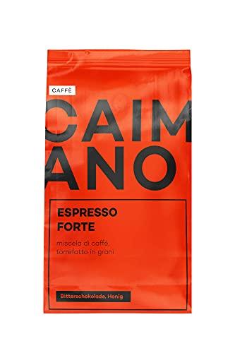 Caffè Caimano Espresso Forte, 1kg, ganze Bohne, dunkle Röstung italienischer Art, schokoladig & süßlich, säurearm, samtweiche Crema, ideal für Kaffee aus Siebträger & Kaffeevollautomaten, 100% Robusta