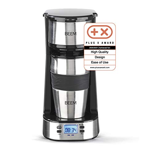 BEEM THERMO 2 GO Single-Filterkaffeemaschine - Thermo   Inklusive 0,4 l Thermobecher to go und Permanentfilter   24h-Timer   750 W   Edelstahl