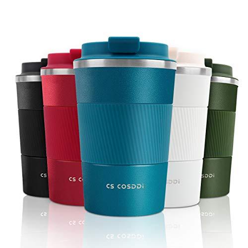 CS COSDDI Thermobecher- Isolierbecher, Edelstahl Travel Mug, 13oz/380ml Vakuum auslaufsicher Reisebecher mit Deckel, Autobecher, doppelwandig isoliert für Kaffee, Wasser, Kaffee-to-go Becher (Blue-A)