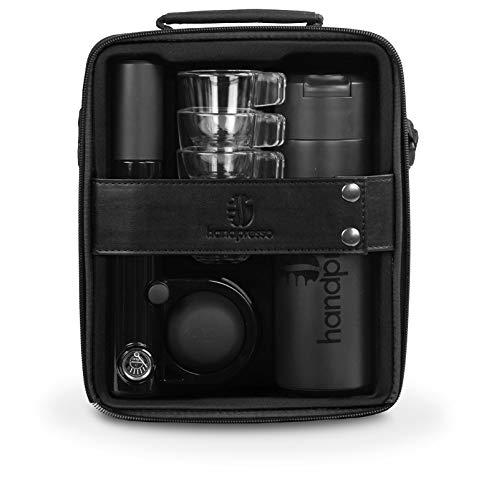Handpresso 48241 Pump Set schwarz - tragbare, manuelle Espressomaschine für ESE-Pads oder gemahlenen Kaffee