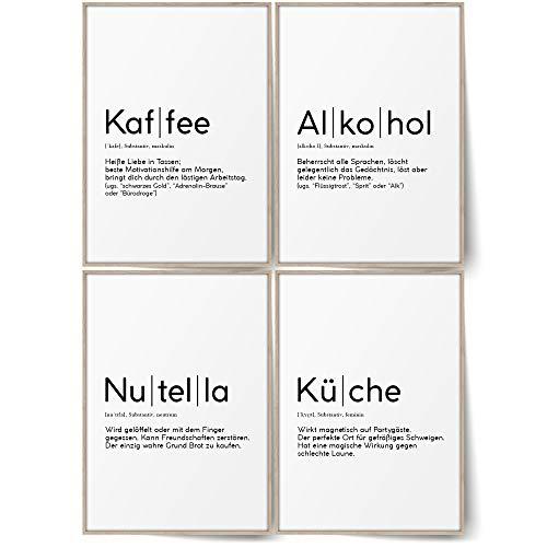 BLCKART Definition Küchen Poster Set Stilvolle Wandbilder mit Definitionen Esszimmer Wanddeko ohne Rahmen (Kaffee Küche Alkohol & Nutella, A4 (ohne Rahmen))