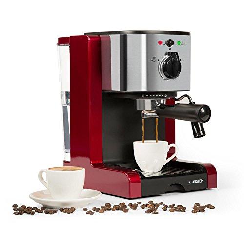 Klarstein Passionata Rossa 20 - Espressomaschine, Espresso-Automat, Kaffee-Maschine, 1350 Watt, 1,25 Liter, automatischer Druckablass, inkl. Milchschaum Düse für Zubereitung von Cappuccino, rot