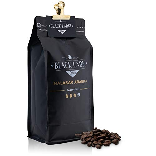 Black Label Coffee Kaffeebohnen 1kg | sehr säurearm Malabar Arabica 100% | Kaffee-Bohnen für Vollautomat mild Espresso ganze Bohne | Cafe Crema frisch geröstet