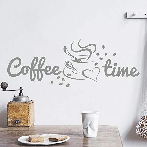 Coffee TIME Wandtattoo Sticker Aufkleber Kaffeezeit Kaffee Zeit (40cm (B) x 14cm (H), Grau)