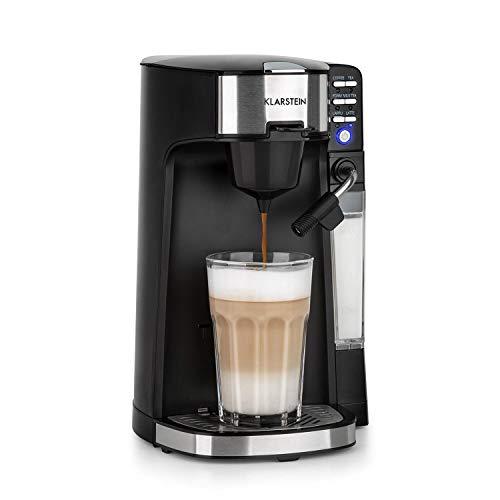 Klarstein Baristomat Heißgetränkeautomat mit integriertem Milchaufschäumer- 2-in-1 Kaffee-Maschine,1000-1180 W, 350ml Milchbehälter, 2 Brühgruppen, Kaffee, Cappuccino & Latte Macchiato, pianoschwarz