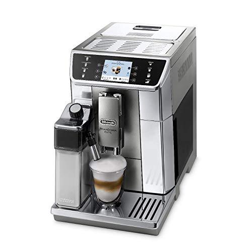 De'Longhi PrimaDonna Elite ECAM 656.55.MS Kaffeevollautomat mit Milchsystem, Cappuccino und Espresso auf Knopfdruck, 3,5 Zoll TFT Touchscreen Farbdisplay und App-Steuerung, Edelstahlfront, silber