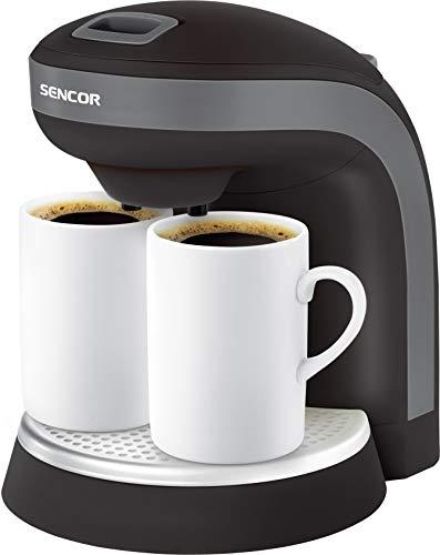 SENCOR SCE 2000BK Duo Kaffeemaschine (350 Watt, Reisekaffeemaschine, mit zwei Porzellanbecher) Schwarz [Energieklasse A]
