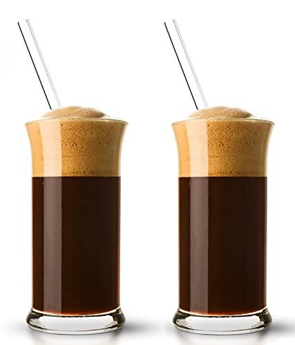 "Topkapi 251.001-4-TLG Eiskaffee-Set ""Rimini"" mit 2 Eiskaffeegläser + 2 Glashalmen, für Milchkaffee, Milchshake, Frappe, Cocktails, Longdrinks, Kakao, Transparent~30 cl (300 ml) + Glashalm"