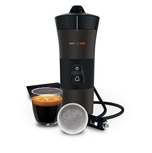 Handpresso - NEUE Handcoffee Auto 12V 21000- Kaffeemaschine für das Auto, Tragbare Kaffeemaschine mit Senseo®-kompatible Pads, Reisen, Auto und Camping Kaffeemaschine (12 Volt + Zigarettenanzünder)