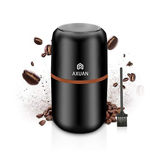 Elektrische Kaffeemühle, AXUAN Kaffeebohnenmühle elektrisch, Bohnen, Nüsse und Getreide Mahlwerk mit 304 Edelstahlklingen, 30000 U/min, leistungsstarker Motor, 120 g Kapazität