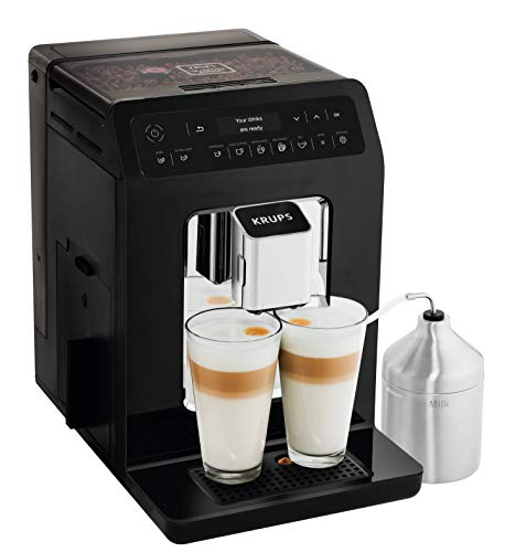 Krups EA8918 Evidence Kaffevollautomat, OLED-Display Barista Quattro Force Technologie, 12 Kaffee-Variationen, 3 Tee-Variationen, One-Touch-Cappuccino Funktion, 2-Tassen Funktion, schwarz