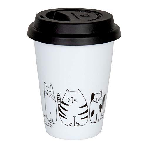 Könitz Funny Cats Coffee to Go Mug mit Deckel, Becher, Kaffeebecher, Porzellan, 380 ml, 11 5 162 2075