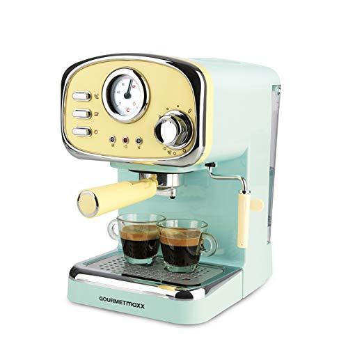 GOURMETmaxx Elektrische Siebträger Espressomaschine, Analoge Temperaturanzeige, Mit Tassenwärmer und Michaufschäumer (Retro-Design, 1100 Watt)