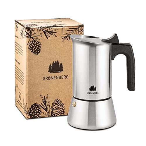 Groenenberg Espressokocher Induktion geeignet   Edelstahl   4-6 Tassen Espressokanne   200-300 ml Mokkakanne   Camping Kaffeekocher mit Ersatz Dichtung   Espresso Kocher Alu-frei (4 Tassen (200 ml))