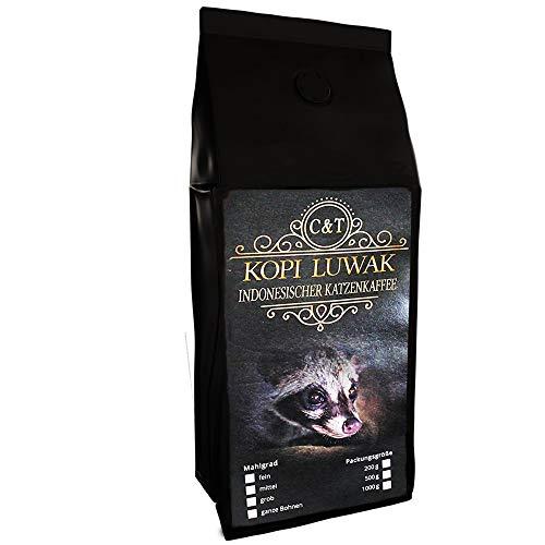 Kaffee Rarität Geschenk Katzenkaffee Kopi Luwak Arabica 200 g ganze Bohne zum verschenken frisch geröstet (von freilebenden Tieren)