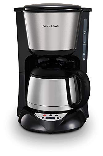 Morphy Richards 162771EE Filter Kaffeemaschine mit Timer und Thermoskanne, Edelstahl / Gebürstet