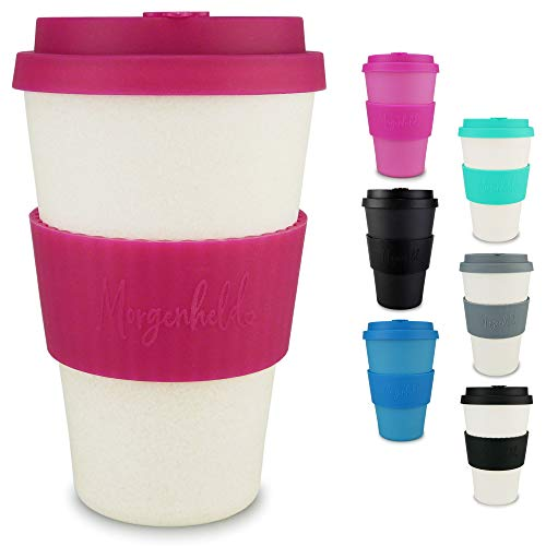 Morgenheld Dein trendiger Bambusbecher | Coffee-to-Go-Becher | Kaffeebecher mit Silikondeckel und Banderole in coolem Design, 400ml - Natural Pink