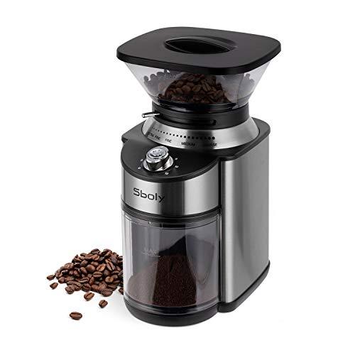 Sboly Elektrische Kaffeemühle, Kaffeemühle mit Kegelmühle, Einstellbare Edelstahlmühle mit 19 Präzisen Mahleinstellungen, Elektrische Kaffeemühle für Drip, Französische Presse