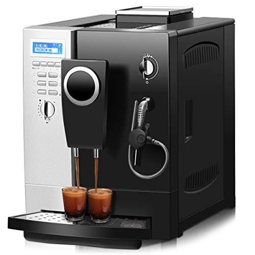 COSTWAY Kaffeevollautomat Kaffeemaschine Milchaufschäumdüse / 2-Tassen-Funktion / 2 L Wassertank / 1200W / Edelstahl / 19 Bar / 80-90℃