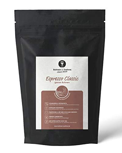 BOHNEN & SOEHNE® Espresso Classic - Spezialitätenkaffee - Espresso-Bohnen mit Noten von Zartbitter-Schokolade und Nüssen - Ganze Bohnen - Ideal für Vollautomat & Siebträgermaschine (500g)