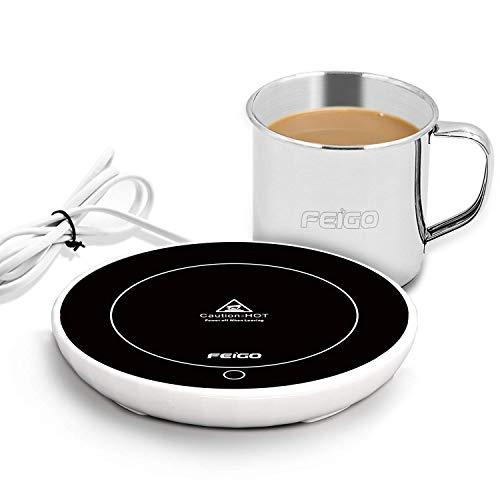Zoiibuy Schwerkraftsc Kaffeewärmer Kaffee Tee Wärmer Multifunktionale Becher-Wärmehaltungsplatte Resistentes Glas mit Isolier Tasse 220V 18W für Büro Hausgebrauch, Schwarz